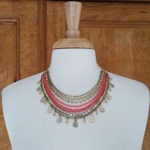 Teardrop Charm Bib Necklace